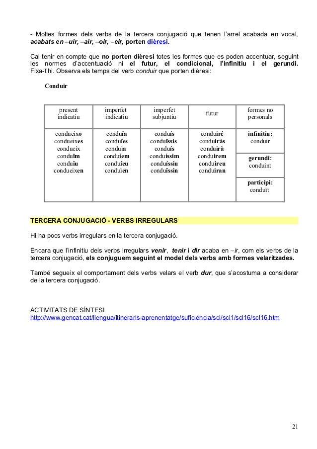 - Moltes formes dels verbs de la tercera conjugació que tenen l'arrel acabada en vocal,acabats en –uir, –air, –oir, –eir, ...