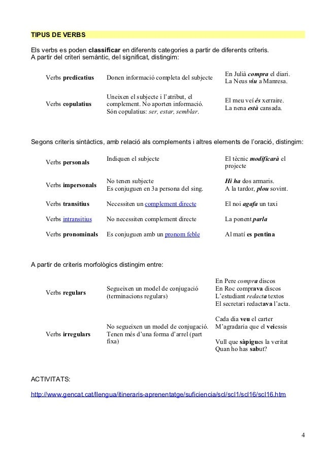 TIPUS DE VERBSEls verbs es poden classificar en diferents categories a partir de diferents criteris.A partir del criteri s...
