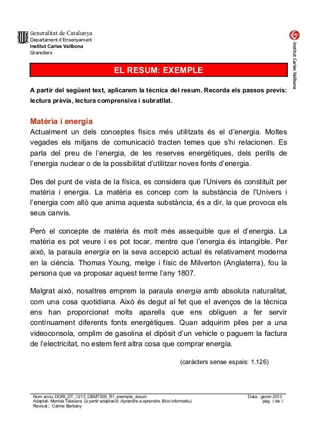 Generalitat de CatalunyaDepartament d'EnsenyamentInstitut Carles VallbonaGranollers                                       ...