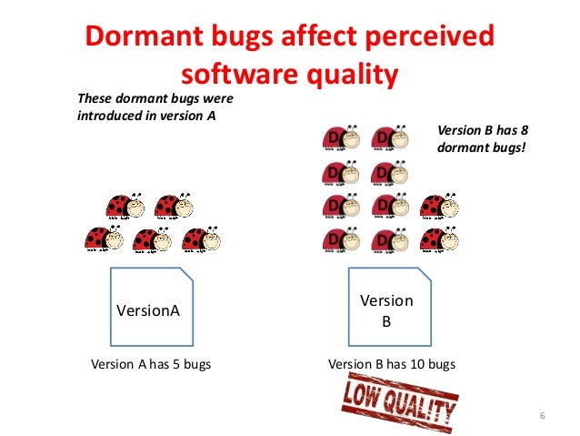 Dormant bugs affect perceived software quality 6 VersionA Version B Version A has 5 bugs Version B has 10 bugs Version B h...