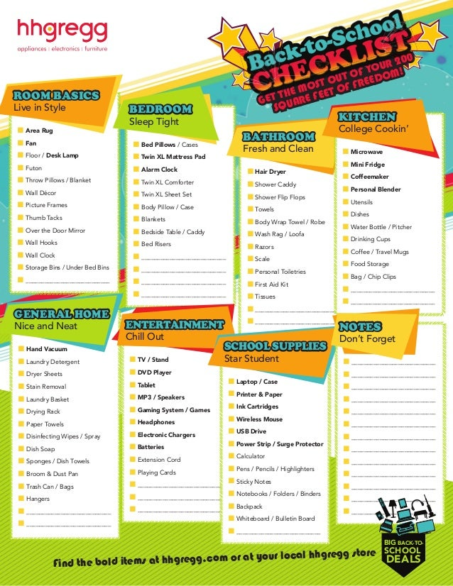Dorm Room Checklist Get Dorm Room College Essentials From Hhgregg - Dorm room essentials