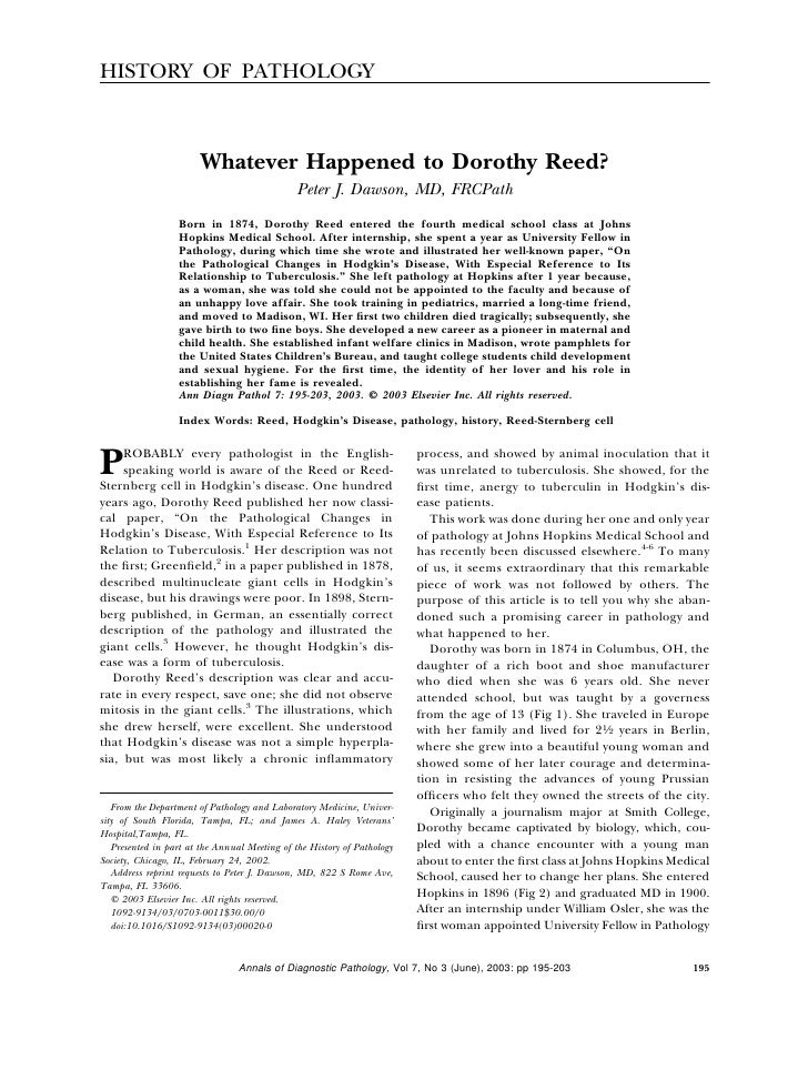 HISTORY OF PATHOLOGY                            Whatever Happened to Dorothy Reed?                                        ...