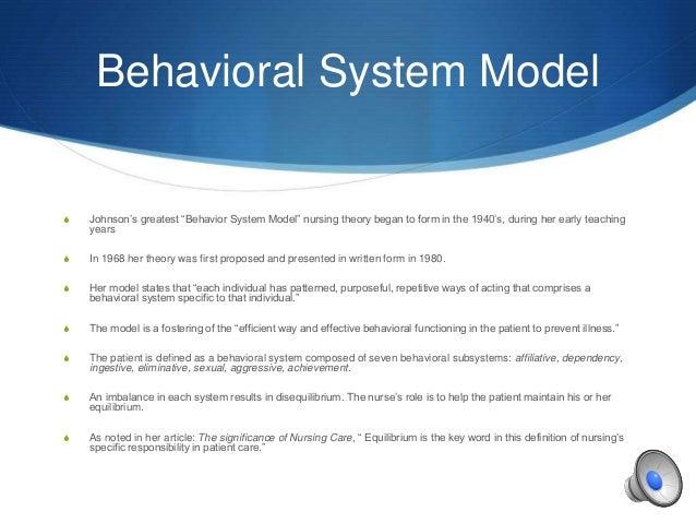 Dorothy e johnson behavioral model