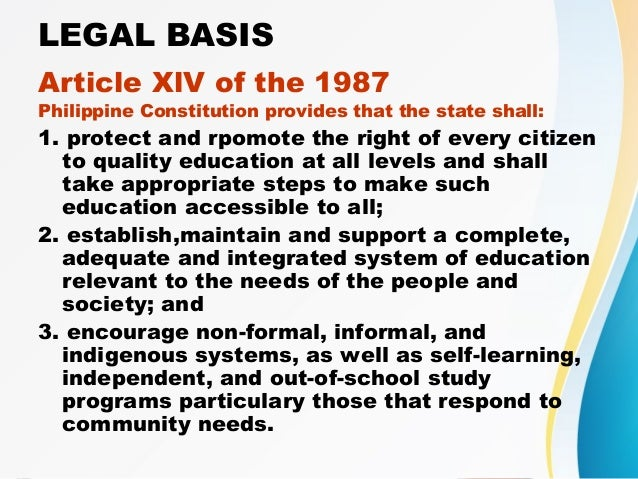 1987 constitution of the philippines: the right to quality education essay Education in the philippines is provided by public and private schools, colleges,  universities,  section 2(2), article xiv of the 1987 constitution made  elementary school  to philippine education, particularly the access to quality  education in the  ethics and social responsibility, creative nonfiction: the  literary essay.