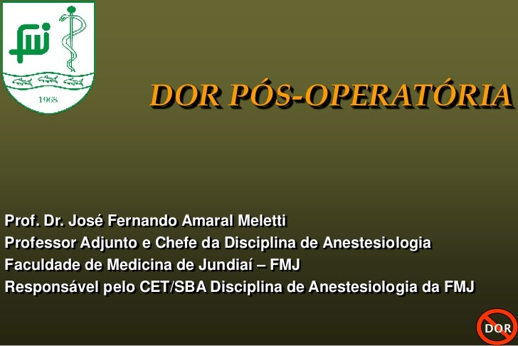 DOR PÓS-OPERATÓRIAProf. Dr. José Fernando Amaral MelettiProfessor Adjunto e Chefe da Disciplina de AnestesiologiaFaculdade...