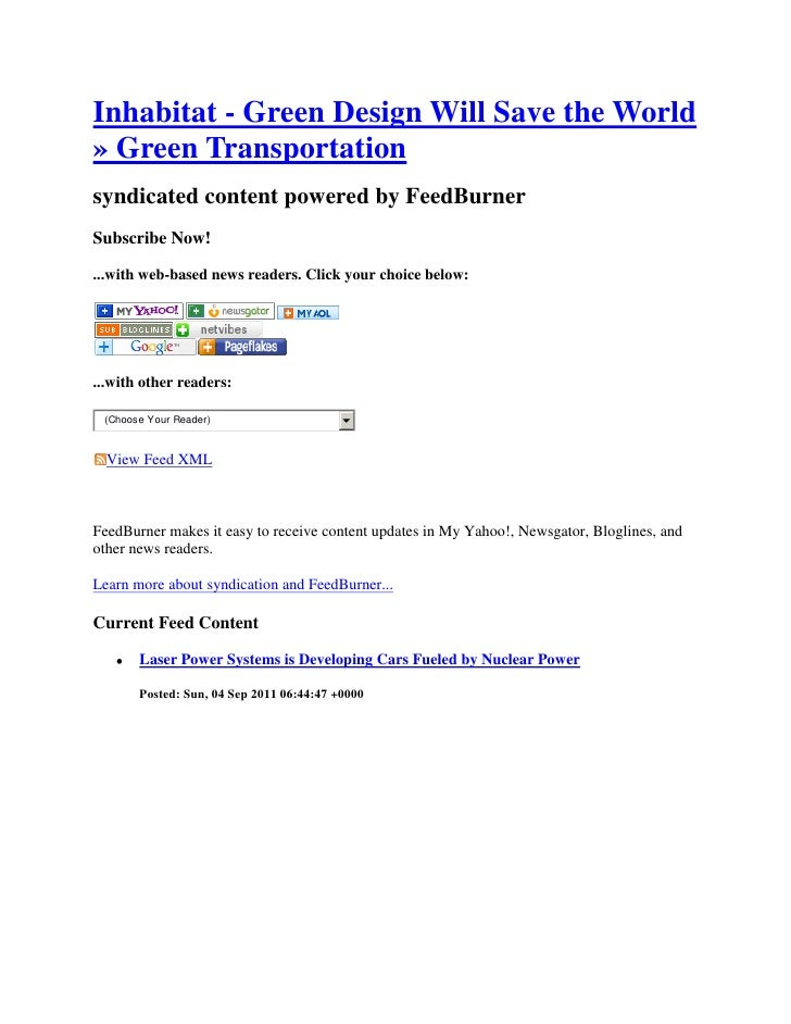 &<br />Inhabitat - Green Design Will Save the World » Green Transportation <br />syndicated content powered by FeedBurner<...