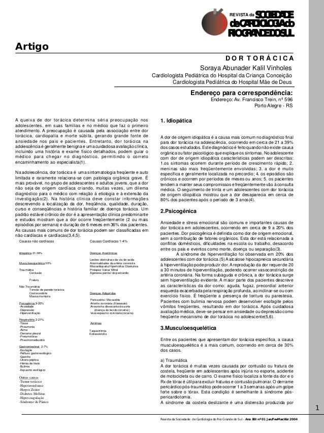 Revista da Sociedade de Cardiologia do Rio Grande do Sul - Ano XIII nº 01 Jan/FevMar/Abr 2004 1 Artigo SOCIEDSOCIEDSOCIEDS...