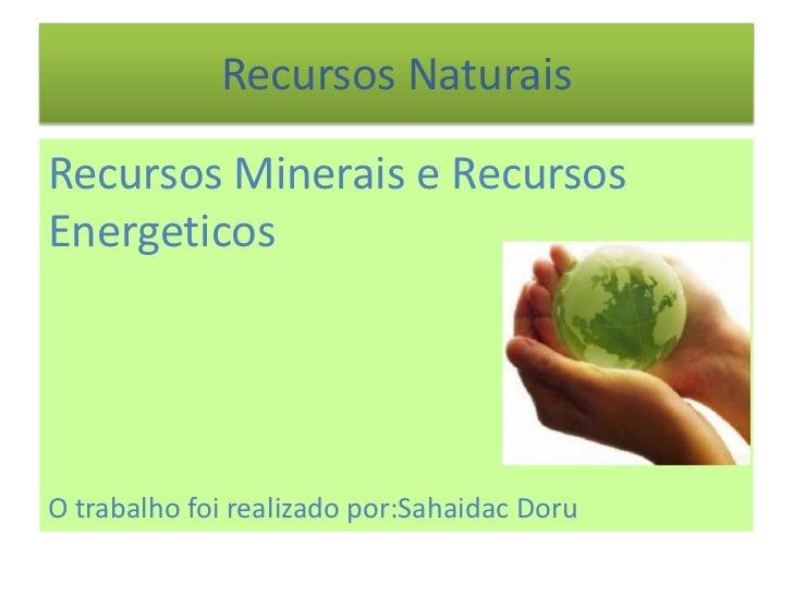 Recursos NaturaisRecursos Minerais e RecursosEnergeticosO trabalho foi realizado por:Sahaidac Doru
