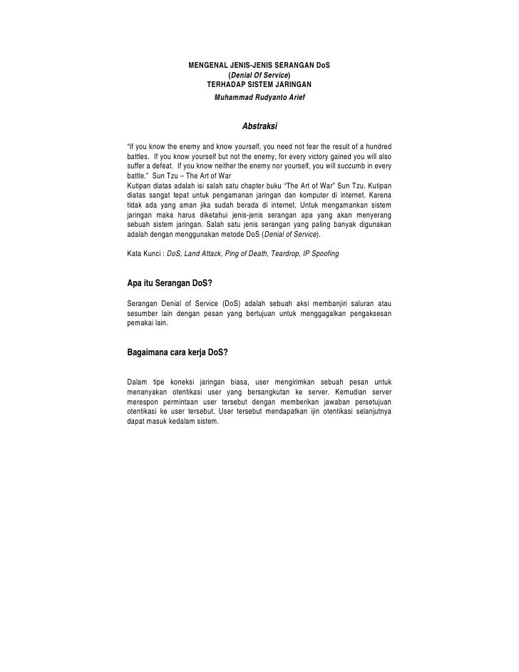 MENGENAL JENIS-JENIS SERANGAN DoS                              (Denial Of Service)                         TERHADAP SISTEM...