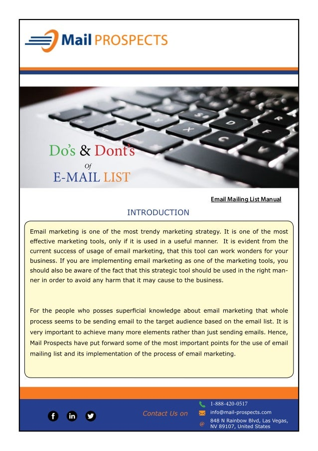 Email Mailing List Manual