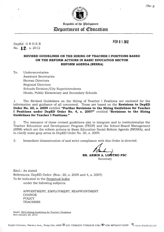 Revised Guidelines on the Hiring of Teacher I Positions