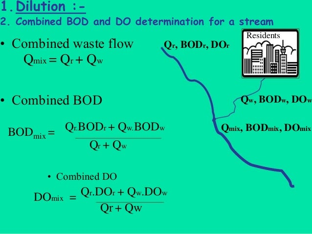 Qw, BODw, DOw Qr, BODr, DOr 1.Dilution :- 2. Combined BOD and DO determination for a stream Residents Qmix, BODmix, DOmix ...
