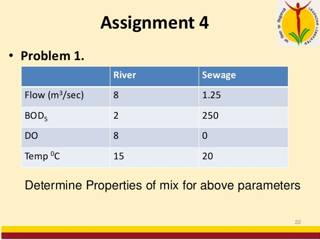 Assignment 4 • Problem 1. 22 River Sewage Flow (m3/sec) 8 1.25 BOD5 2 250 DO 8 0 Temp 0C 15 20 Determine Properties of mix...