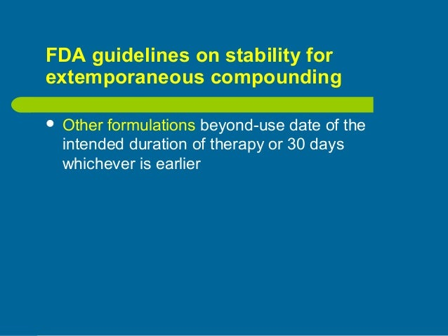 Fda beyond use dating