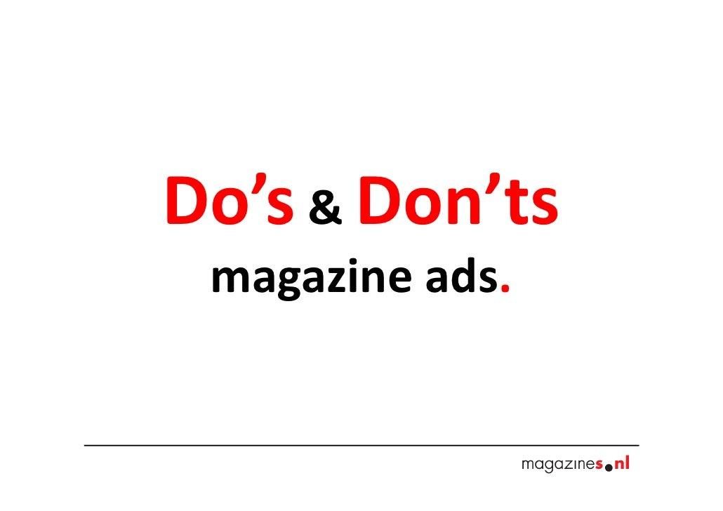 Do's & Don'ts magazine ads.