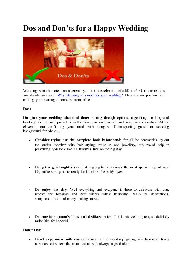 Dos and donts for a happy wedding dos and donts for a happy wedding wedding is much more than a ceremony solutioingenieria Choice Image