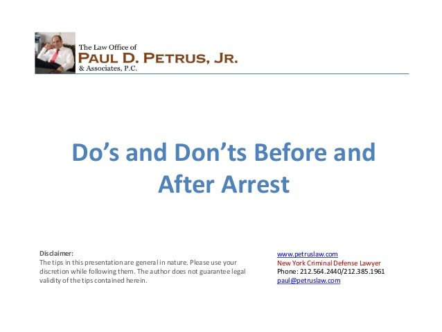 www.petruslaw.com New York Criminal Defense Lawyer Phone: 212.564.2440/212.385.1961 paul@petruslaw.com Disclaimer: The tip...