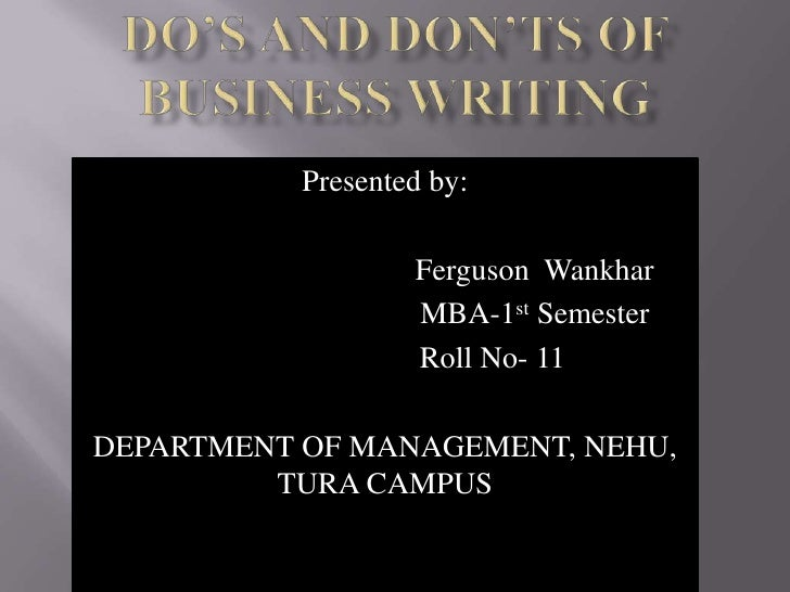 Presented by:                   Ferguson Wankhar                   MBA-1st Semester                   Roll No- 11DEPARTMEN...
