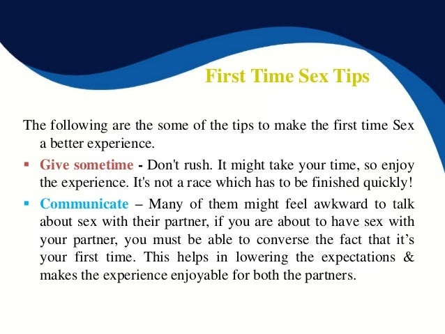Tips to first time sex