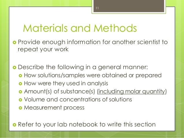 Materials and methods for lab report us