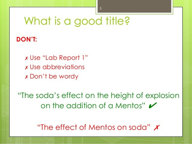 lab report objective example