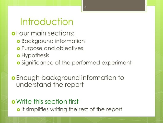 how to write a background information