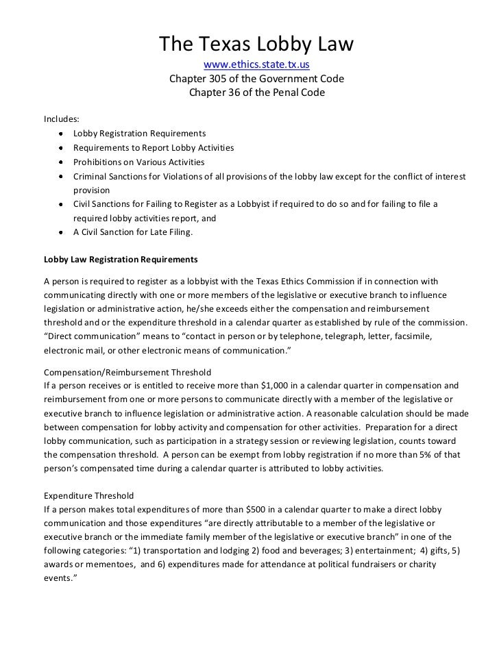 The Texas Lobby Law                                       www.ethics.state.tx.us                                 Chapter 3...