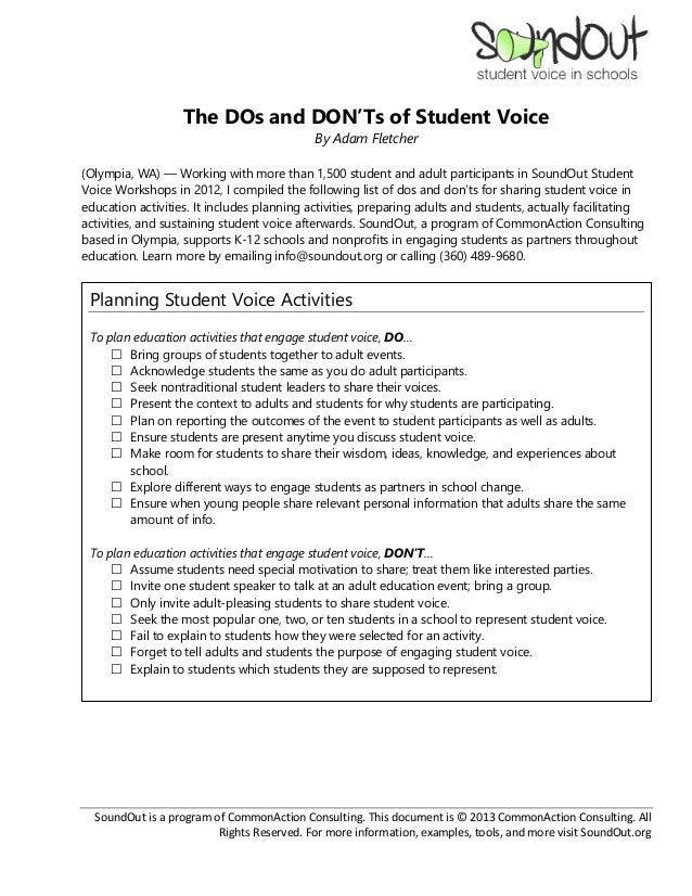 The DOs and DON'Ts of Student Voice                                            By Adam Fletcher(Olympia, WA) — Working wit...