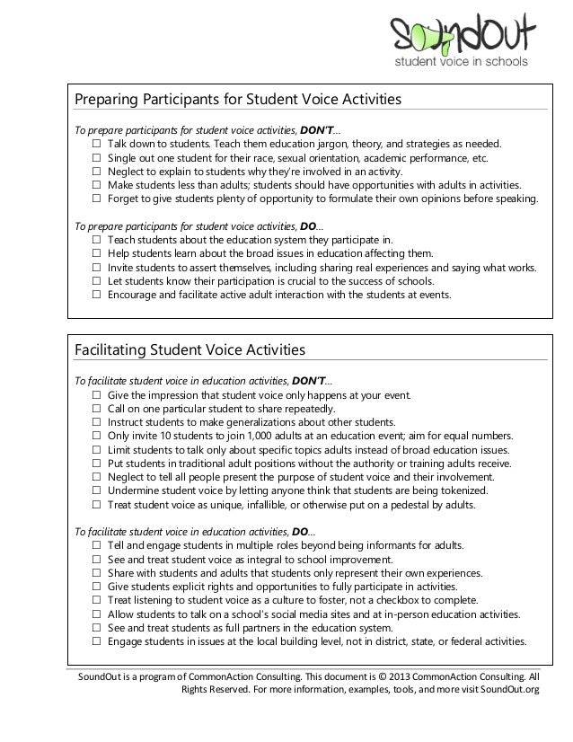Dos and Don'ts of Student Voice Slide 2