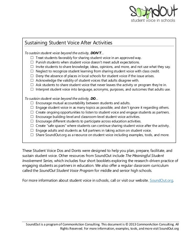 Dos and Don'ts of Student Voice Slide 3