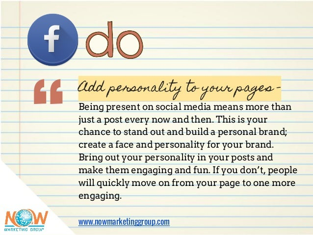 """"""" Add personality to your pages - Being present on social media means more than just a post every now and then. This is yo..."""