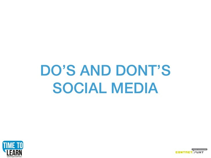 DO'S AND DONT'S SOCIAL MEDIA