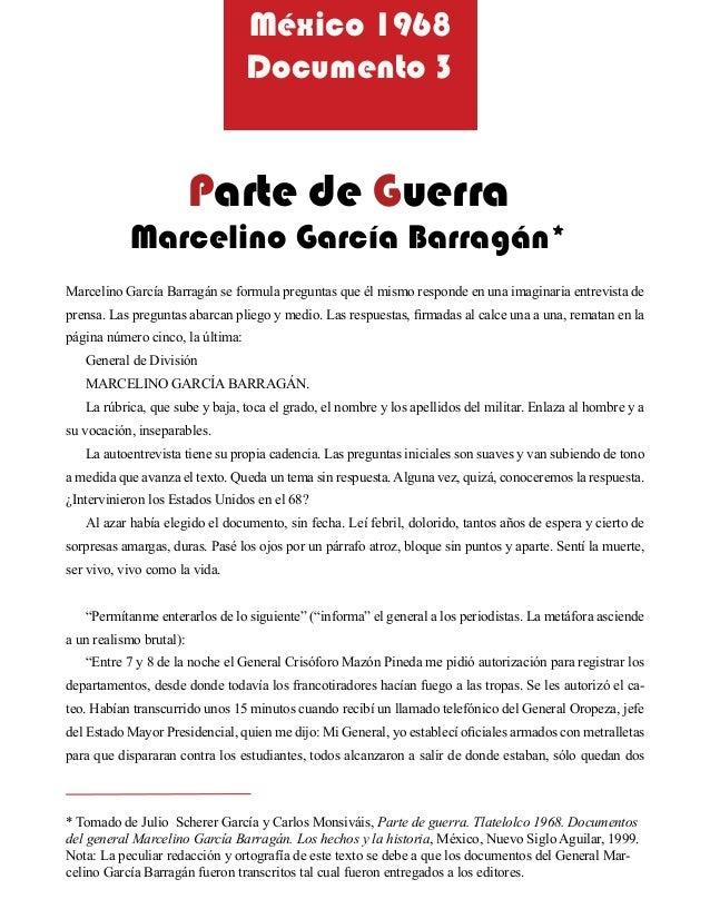 Marcelino García Barragán se formula preguntas que él mismo responde en una imaginaria entrevista deprensa. Las preguntas ...
