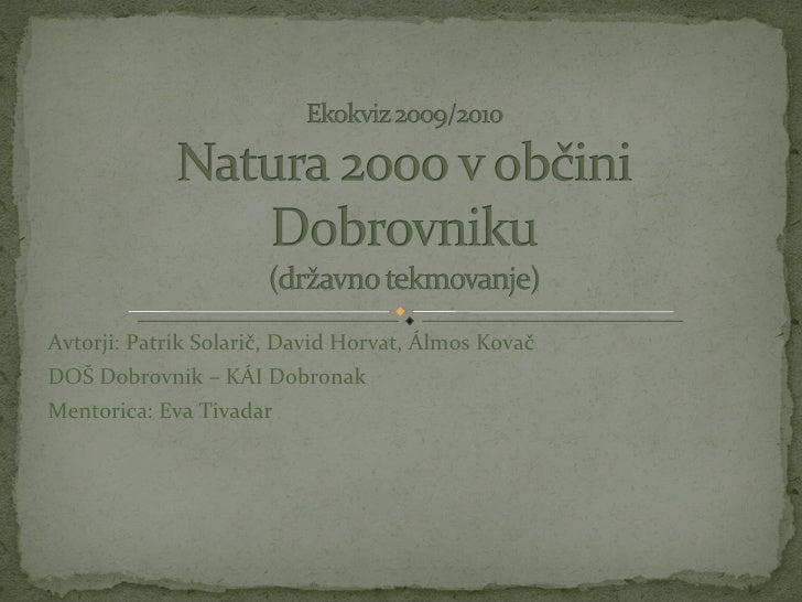Avtorji: Patrik Solarič, David Horvat, Álmos Kovač DOŠ Dobrovnik – KÁI Dobronak Mentorica: Eva Tivadar