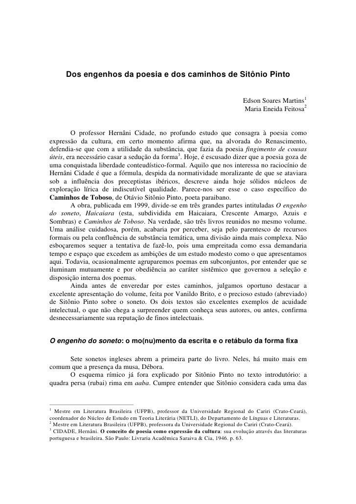 Dos engenhos da poesia e dos caminhos de Sitônio Pinto                                                                    ...