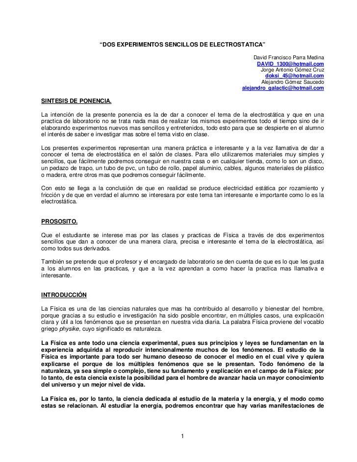 """""""DOS EXPERIMENTOS SENCILLOS DE ELECTROSTATICA""""                                                                            ..."""