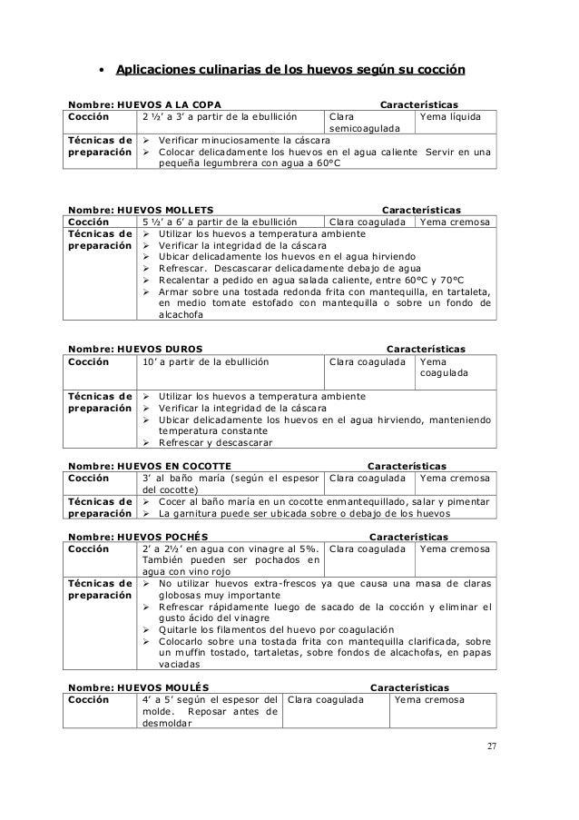 27 • Aplicaciones culinarias de los huevos según su cocción Nombre: HUEVOS A LA COPA Características Cocción 2 ½' a 3' a p...
