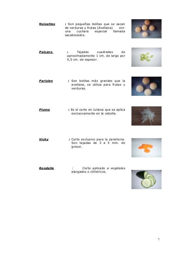 7 Noisettes : Son pequeñas bolitas que se sacan de verduras y frutas (Avellana) con una cuchara especial llamada sacabocad...