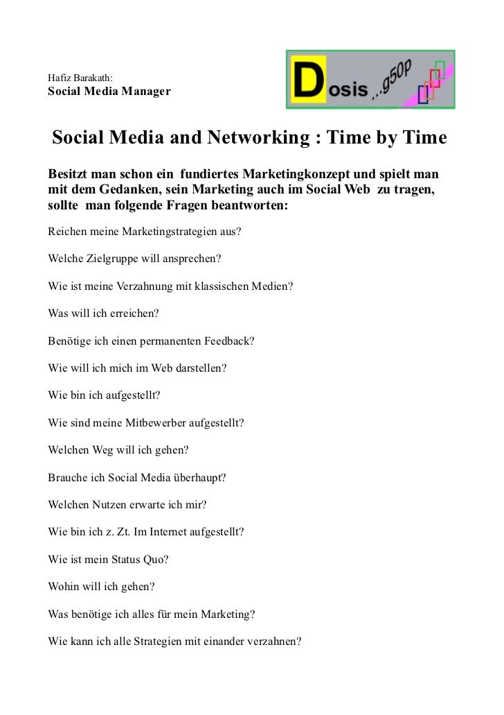 Hafiz Barakath:Social Media ManagerSocial Media and Networking : Time by TimeBesitzt man schon ein fundiertes Marketingkon...