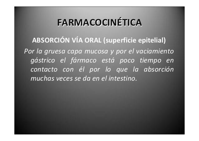 FARMACOCINÉTICA  ABSORCIÓNVÍAORAL(motilidadintestinal)Enelayunoyentredigestionesesmuchomenor  enniños.Laact...