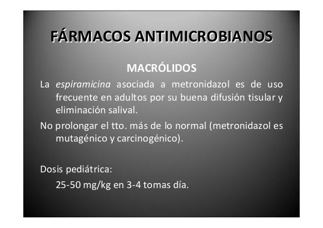 FÁRMACOSANTIMICROBIANOS                 MACRÓLIDOS    RHODOGIL® (espiramicina+metronidazol)              75.000UI/125...
