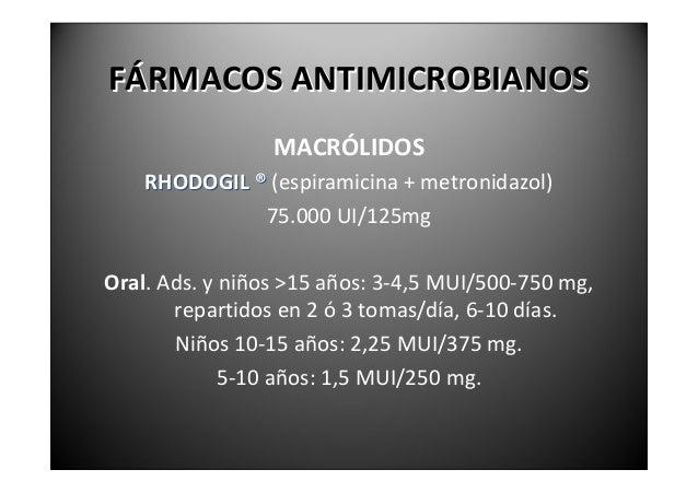 FÁRMACOSANTIMICROBIANOS                      MACRÓLIDOSLa azitromicina presenta un amplio espectro   (anaerobios,G‐...