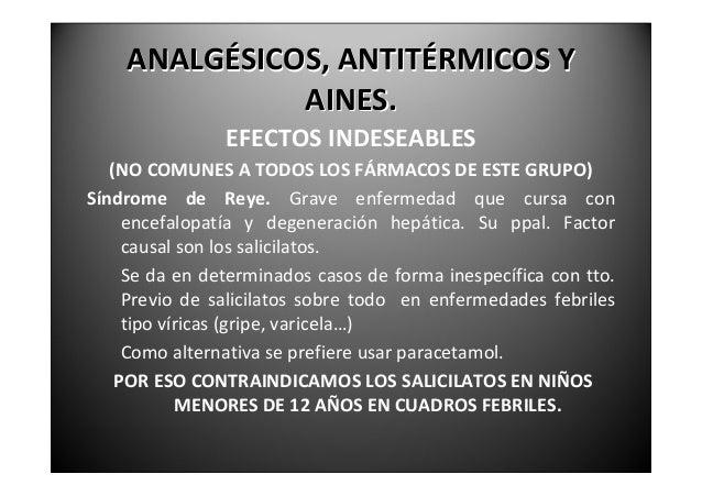 ANALGÉSICOS,ANTITÉRMICOSY              AINES.                 EFECTOSINDESEABLESCuadros asmáticos, reacciones alérg...