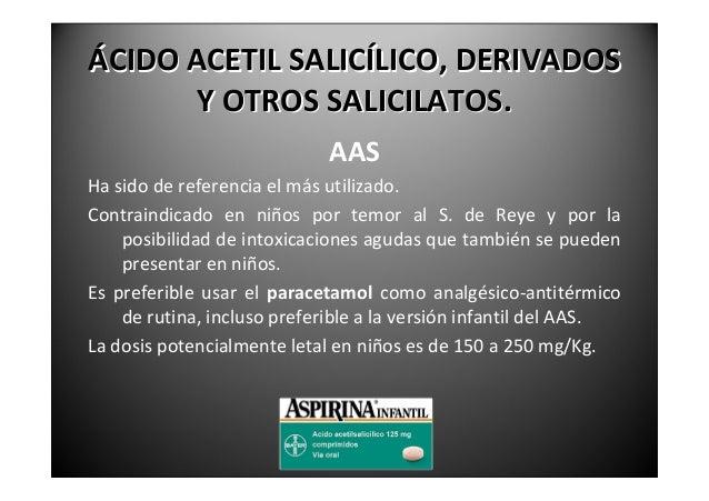 ÁCIDOACETILSALICÍLICO,DERIVADOS       YOTROSSALICILATOS.                 PARACETAMOL(ACETAMINOFENO.)No es antiinf...