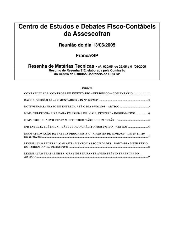 Centro de Estudos e Debates Fisco-Contábeis               da Assescofran                                               Reu...