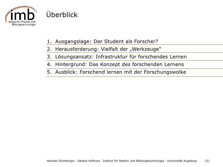 Gestaltung von Rahmenbedingungen für das forschende Lernen Slide 2