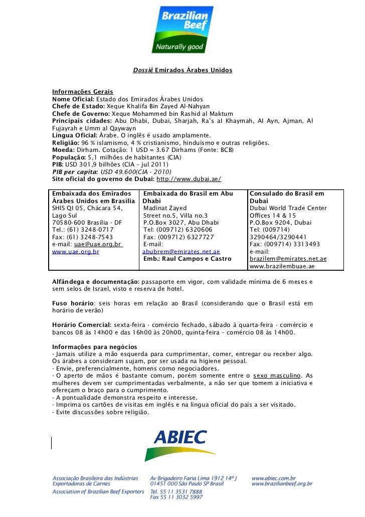 ABIEC - Dossiê emirados árabes 2012