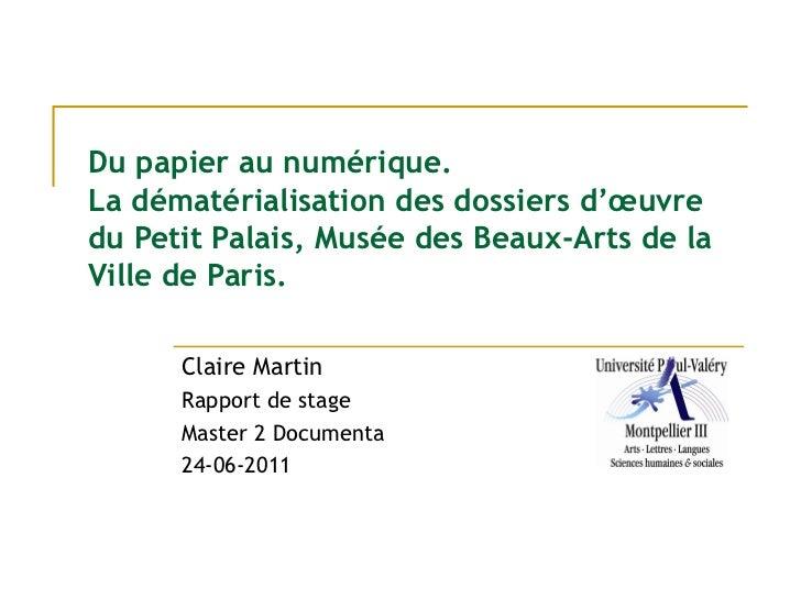 Du papier au numérique. La dématérialisation des dossiers d'oeuvre du Petit Palais, Musée des Beaux-Arts de la Ville de Paris
