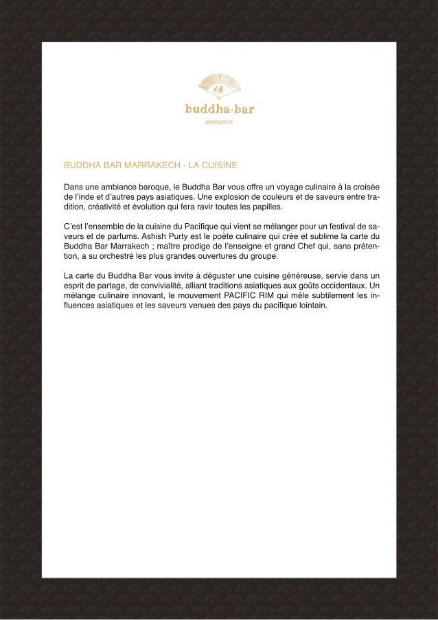 dossier de presse buddhabar marrakech dossier de prensa. Black Bedroom Furniture Sets. Home Design Ideas