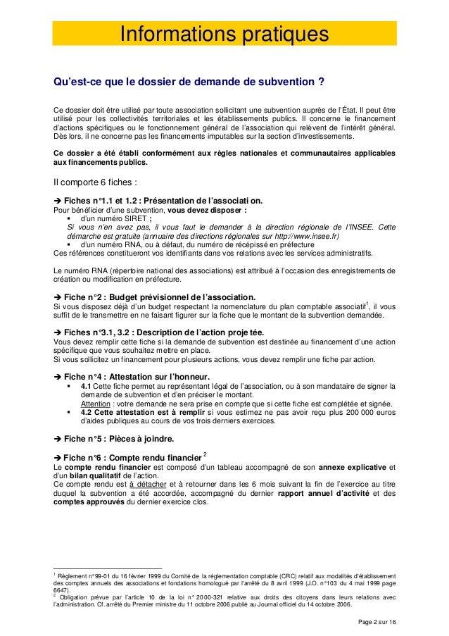 Dossier Demande Subvention Associations